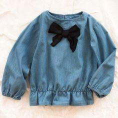 girl clothing, blouses, doll clothes, mini rodini, bows, denim bow, black, rodini denim, bow blous