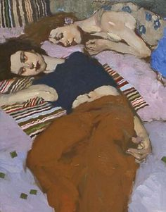 """Cool Night"" - Milt Kobayashi {contemporary figurative artist redhead female dressed reclining women painting}"
