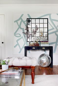 wearstler inspired brushstroke painted wall