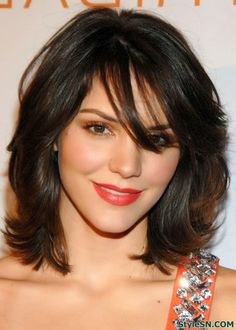 Layered medium messy haircut with side bangs
