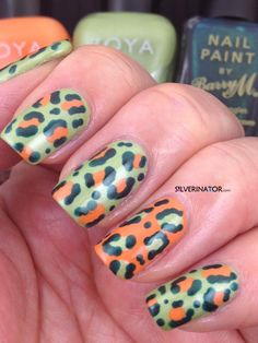 dusty moss green with orange  & deep steel blue cream for leopard lines