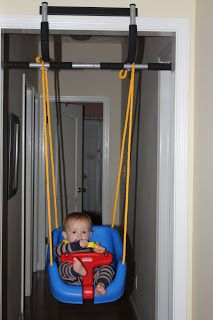 Indoor Swing! Smart way to use pull up bar if you already have one.  Cheaper then a door frame swing support