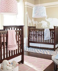 Boy and Girl Twin Nursery - I like the pale colors & animal print, for either option