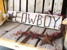 COWBOY-Rustic Ranch Decor-Country Western Wooden STAR Twig Sign- Distressed Pine Cream-Brown -CUSTOM orders-pick your own colors. $46.00, via Etsy.