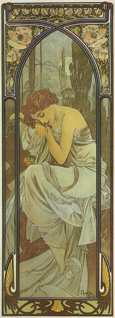 Alphonse Mucha (Czech, 1860 - 1939). The Times of the Day: Night's Rest, 1899. Color Lithograph, 107.7 x 39 cm.