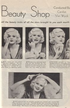 Some of actress Jean Harlow's favourite beauty tips. #vintage #actress #1930s #beauty #mak_up #hair