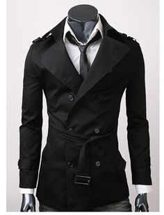 Men's casual double breasted trench coat.