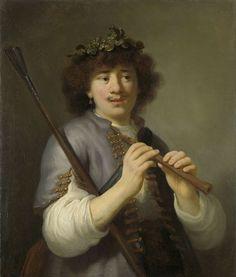 Govert Flinck, Rembrandt als herder met staf en fluit, 1636