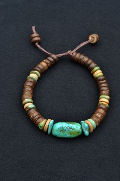 Men's Natural bracelet With Real Turquoise and Coconut by TaikaEarth, SOLD