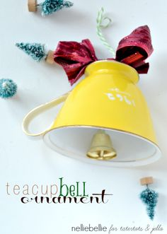 Make a teacup bell ornament with this easy tutorial.  These would be cute for a wedding shower favor.  Get a bunch of vintage teacups at garage sales and turn them in to an ornament.