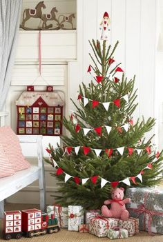 Christmas tree with holiday bunting