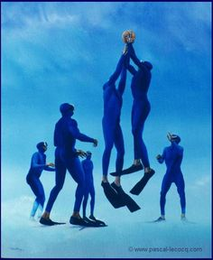 "OLYMPIC GAMES 2012, Aug 12th: Men's Basketball Final  pic: ""CATCH THE BALL""  oil on canvas by Pascal Lecocq, The Painter of Blue ®,  18 1/8""x15"" 46 x 38 cm, 1997, lec485, priv.coll.Fort Lauderdale, FL © www.pascal-lecocq.com."