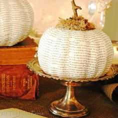 Book Page Dollar Tree Pumpkin from At The Picket Fence