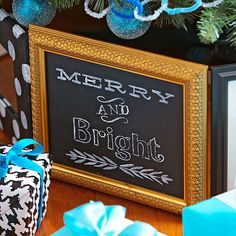 All you need is chalkboard paint and a frame to create this personalizable holiday decoration: http://www.bhg.com/christmas/decorating/long-lasting-christmas-decorations/?socsrc=bhgpin092714merryandbrightchalkboard&page=9
