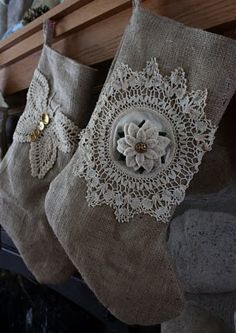 ≈ Vintage stockings love the look the doily gives to the muslin stockings. can also use burlap, might want to use a pink poinsettia silk blossom in the center of round one, could also use lace at cuff, and even at toe and heel if desired