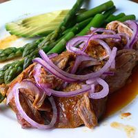 """Slow-Cooked Achiote Pork (""""Cochinita Pibil"""") by Rick Bayless, """"Mexican Everyday"""""""