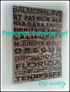 Personalized Subway Sign as Artwork | Diy beautify