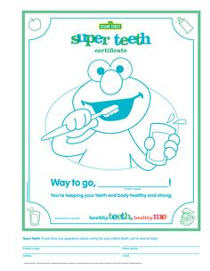 Shine up your kid's pearly whites! Encourage them to keep brushing with this Sesame Street Super Teeth printable certificate.