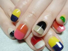 Color block nails #nails #beauty #nail_art #color_block