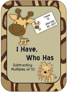 Students subtract multiples of 10 (ex. 46 - 20) with this jungle-themed I Have/Who Has card game.  Includes a themed 100 Chart for support and 2 printables.