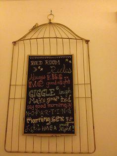 Bedroom rules by me :) chalkboard art walldecor