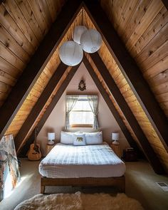 My A-Frame Interior - The cozy master is bedroom strung with paper lanterns. Sheri | Senior Photographer (@sherikowalski) • Instagram photos and videos