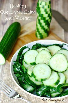 Cucumber Salad with Vinegar-PetiteAllergyTreats  Healthy easy marinade with vinegar #cucumber, #salad, #healthy, #glutenfree