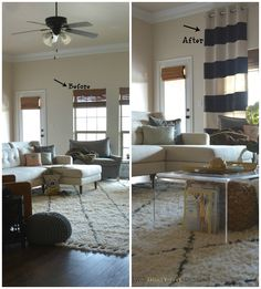 Before and After DIY No-Sew Painted Curtain Panels