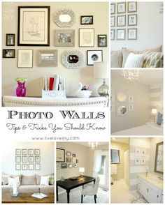 Photo Gallery Wall Tips  Tricks. Great ideas for adding character to your home on a budget!