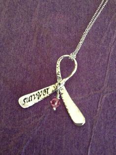 Custom Awareness Ribbon Necklace Handstamped Silver with Bead Charm for Cause