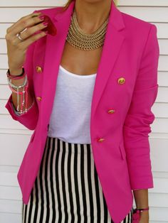 love the hot pink blazer and striped skirt! MUST HAVE