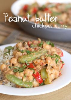 Peanut butter chickpea curry - just a couple of spoonfuls of peanut butter adds so much flavour to this easy curry recipe!
