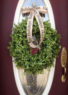 "Christmas Wreath Holiday Door Winter Wreath Decor..""Mistletoe Kisses"". $95.00, via Etsy."