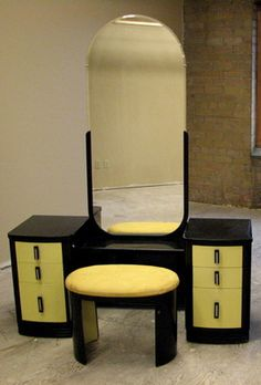 Norman Bel Geddes Art Deco Machine Age Vanity with Mirror and matching Bench