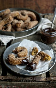 pumpkin churros with chocolate coffee sauce by Jelly Toast