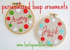 personalized hoop ornaments {a tutorial}