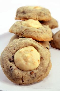 Butter Pecan White Chocolate Crunch Thumbprint Cookies