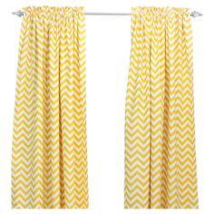 Lemon chevron curtain panels