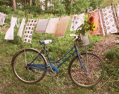 vintage bike and linens