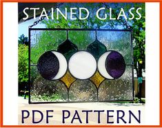 Stained Glass Pattern Triple Moon Panel.  Perfect for beginners who want to stretch their cutting skills a little.  The crescent moons can be a little tricky, but they are simple enough to practice on until you get it right!