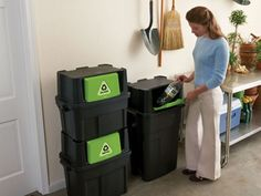 """While everyone agrees that recycling is the right thing to do, it can be a challenge at times. From flimsy recycling bins to roughhousing garbage collectors, and from messes to odor, everyone's got a complaint or two about managing their recycling. Fortunately, Rubbermaid's Stackable Recyclers offer the perfect solution to managing your household's recycling """"depot."""""""