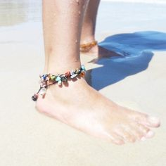 Chakra jewelry — crystal anklet with alternate silver beads - Crystal Chakra Jewellery