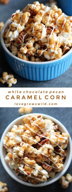 Learn how to make the perfect homemade caramel corn! It is easier than you think and SO addicting! Step-by-step instructions at LoveGrowsWild.com