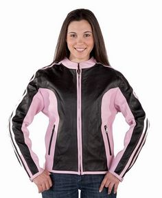 Womens pink and black leather riding jacket item LJ244-011