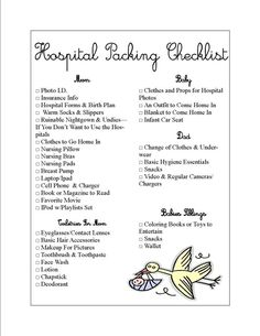 Hospital Packing List. Great for first-time moms... and NO that is not me, but a girl can dream right?