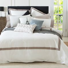 A classic look with tailored edging is how we'd best describe the Soho Quilt Cover Set by Muse. Channel your inner Parisian and style with our Eiffel Tower Cushion available on our website. - Pillow Talk