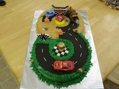 """""""Cars"""" cake for a 3 year old's birthday.."""