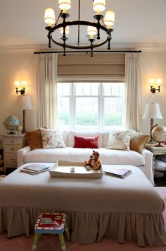 nurseries - white slipcover sofa vintage tables mushroom linen roman shades ivory pinch pleat drapes gray ruffled skirted ottoman  Sweet girl's #EasyNip