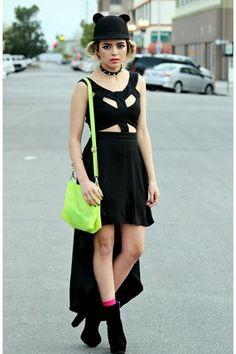 Black-cut-out-asos-dress-black-cat-romwe-hat-chartreuse-neon-choies-bag