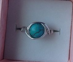Sterling Silver Custom Size Genuine Torquoise Ring by by MAJESSY, $14.99